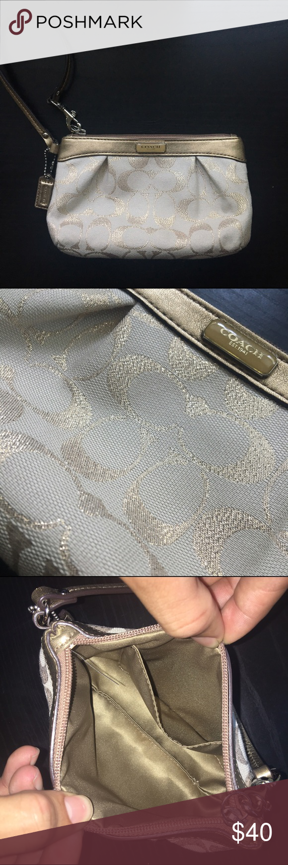 "Coach Gold and Cream Signature ""C"" Wristlet New without tags. Never been used. 100% authentic. Care instructions included. Coach signature jacquard fabric. 100% genuine leather trim. Full zip top closure. Coach signature leather hang tag. 12"" leather strap with clip. Satin interior lining. 8"" (L) x 5"" (H). Smoke free home. Coach Bags Clutches & Wristlets"