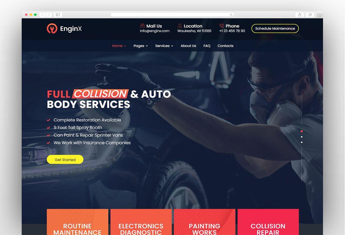 Enginx Auto Repair Service Wordpress Theme Home Maintenance Cleaning Services Company Wordpress Theme