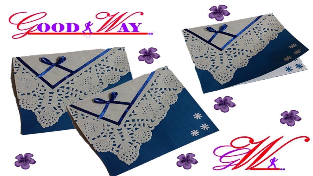 طريقة عمل بطاقة تهنئة أو دعوة أو مطوية 37 Greeting Card Or Invite Hand Art Crafts Diy And Crafts