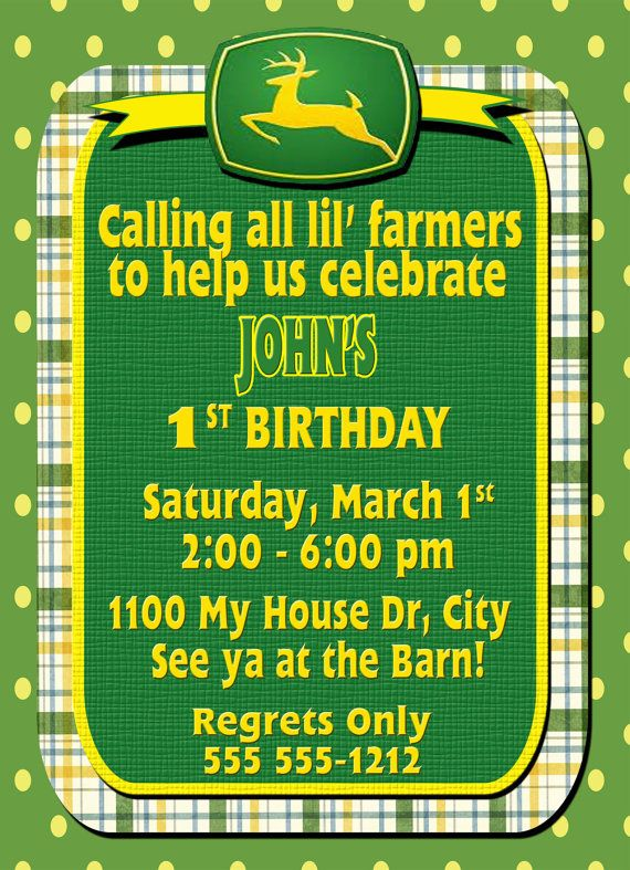 Birthday Invitation Birthday Card John Deere Tractor 5 X 7 2 Sided