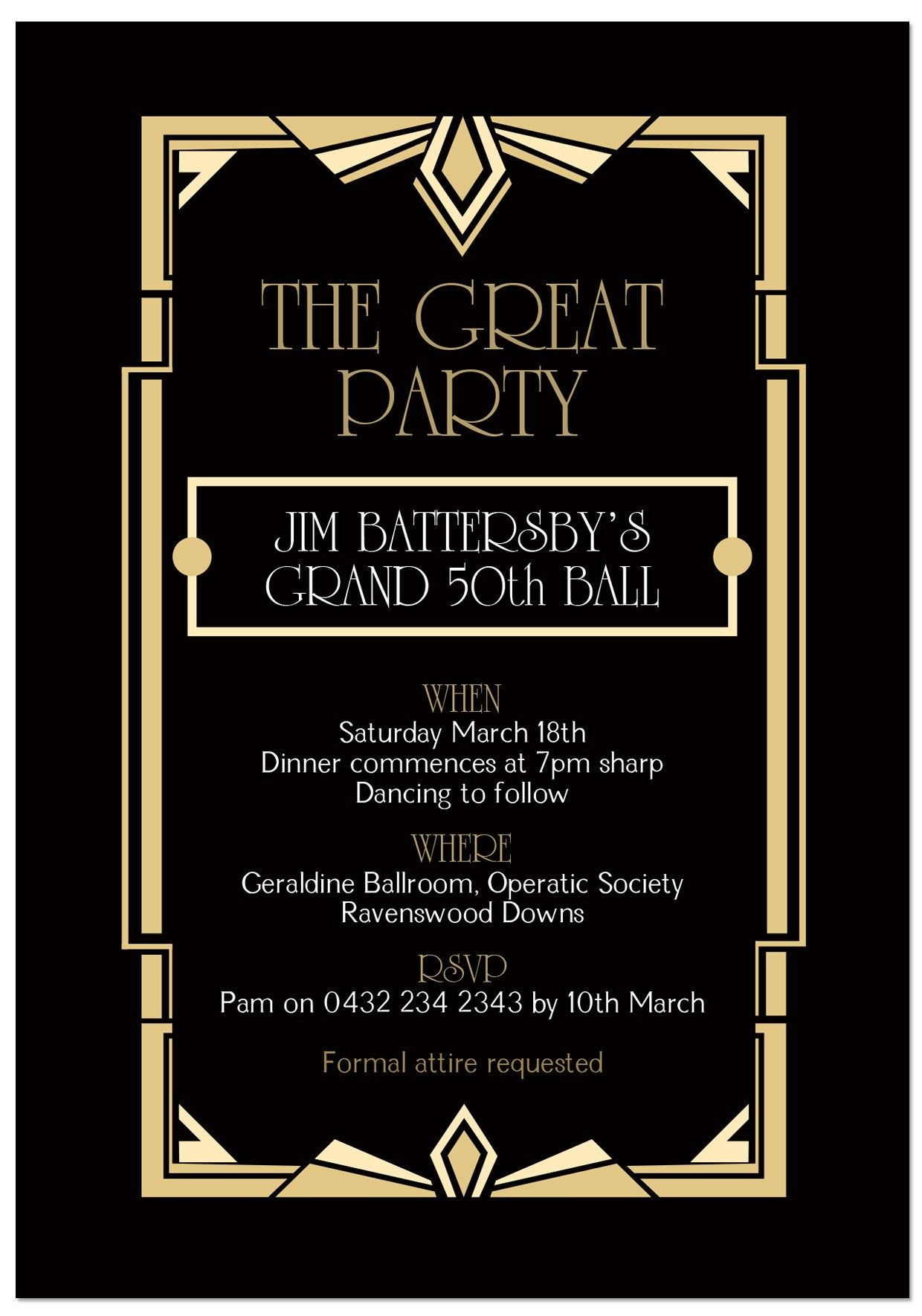 Page 5 For QueryFree Great Gatsby Invitations Templates