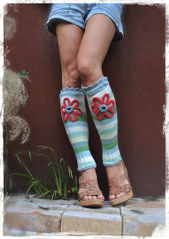 Red Flower Girl Leg Warmers Green Striped Boho Hippie Leg Warmers