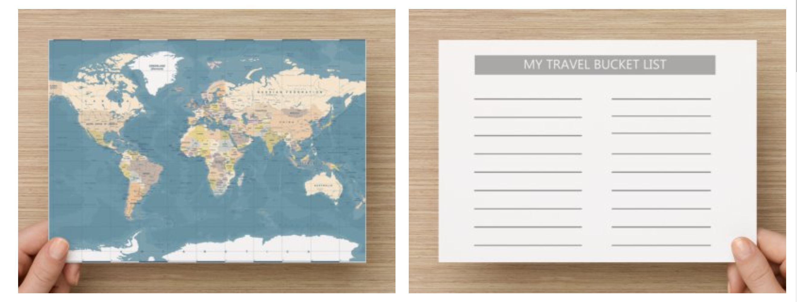 Mini World Map.Mini World Map In A5 Size With Travel Bucket List On Backside