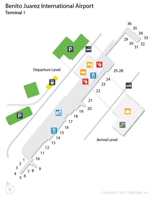 (MEX) Benito Juarez International Airport Terminal Map