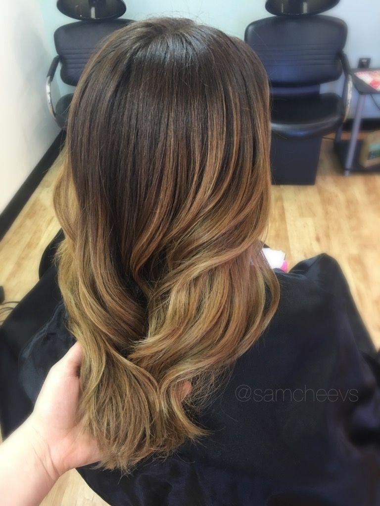 Chocolate Medium Brown Hair With Golden Honey Caramel Balayage Highlights Long And Length