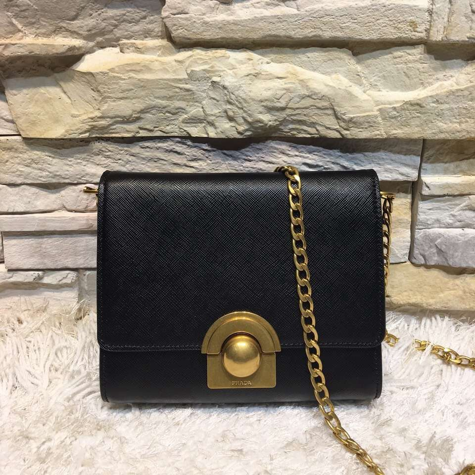 618ccd9303 Prada Saffiano Leather Shoulder Bag 1BH007 Black 2016