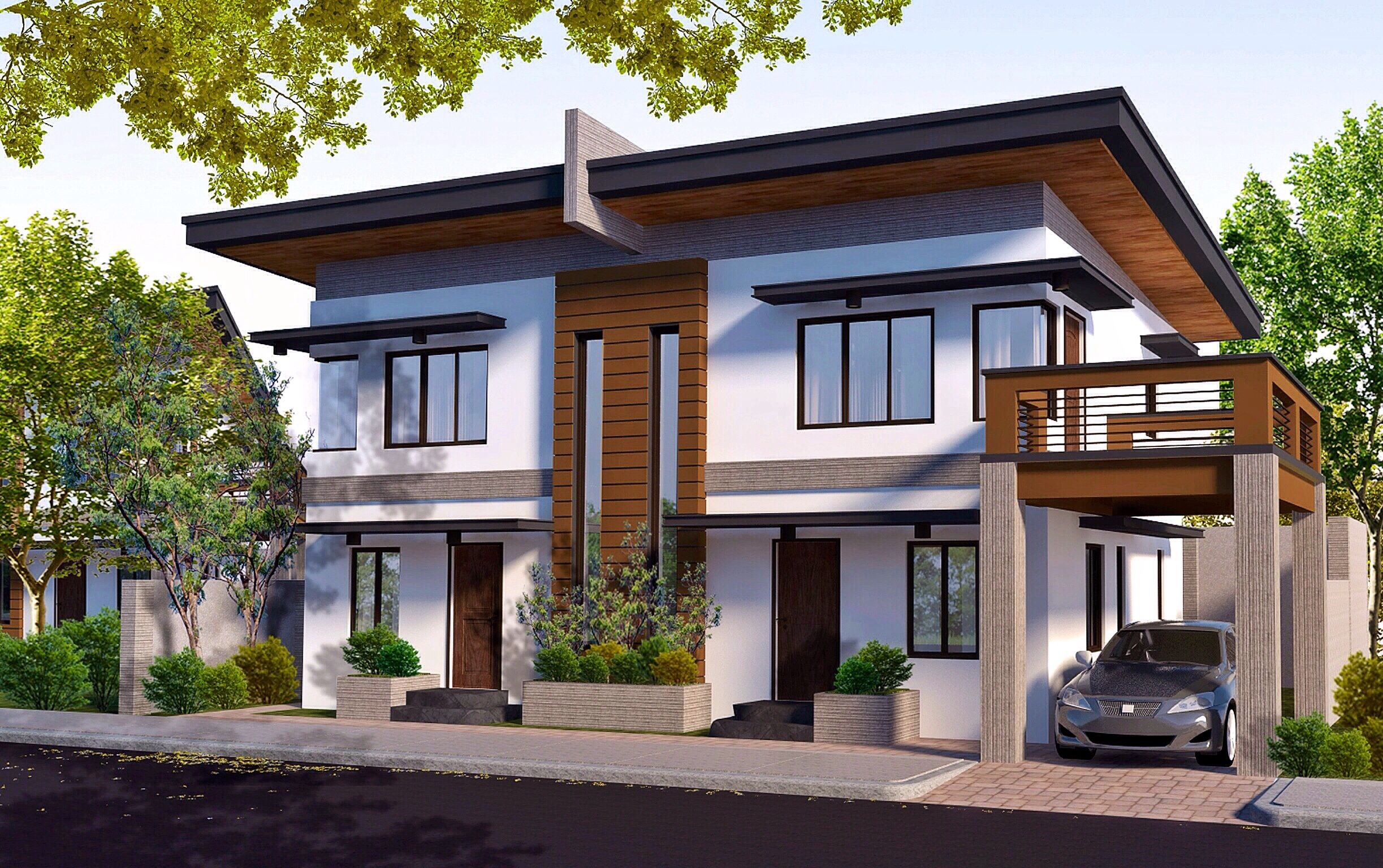 duplex housing rendered in vray for google sketchup
