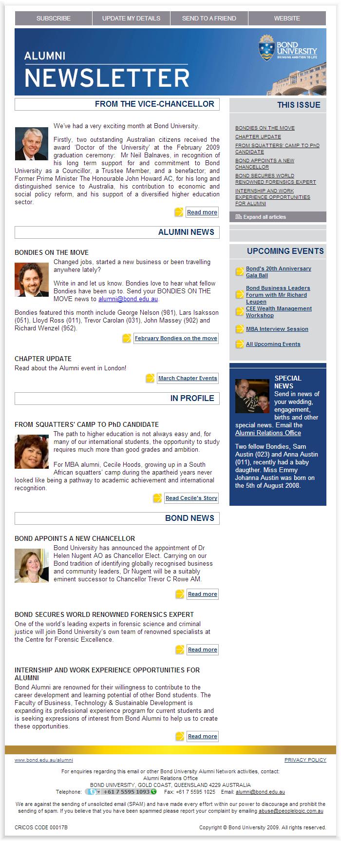 e newsletter design for bond university newsletter ideas