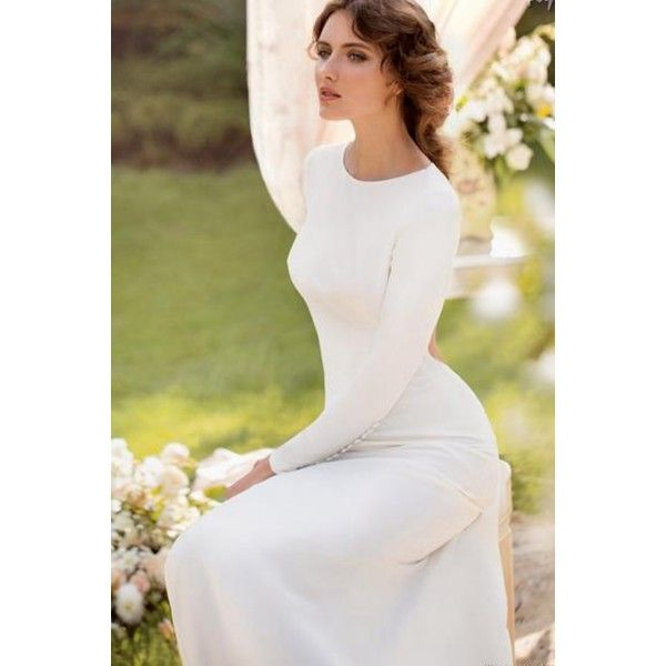 Simple Wedding Dresses Montreal: Vintage Long Sleeves Round Collar Satin Backless Wedding