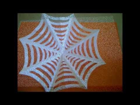 Cómo hacer una tela de araña de papel para Halloween. Como fazer teias de aranha - YouTube