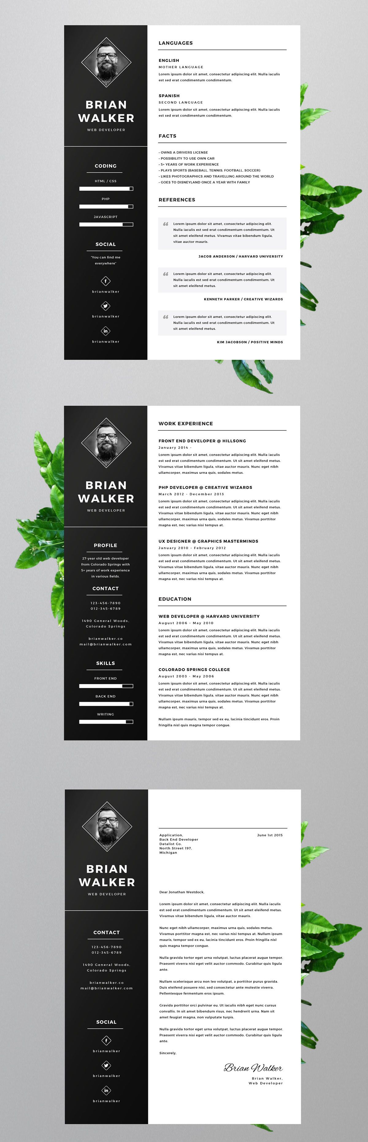Free resume template for Microsoft Word, Adobe Photoshop and Adobe ...
