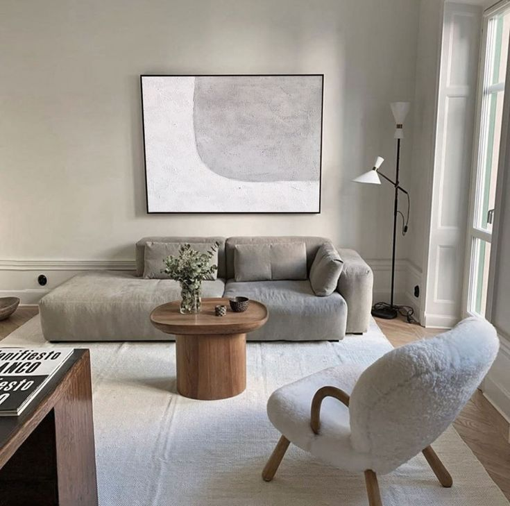 Huge Minimalist Art White Painting Modern Wall Art Grey Canvas Etsy In 2021 Room Interior Living Room Decor Apartment House Interior Minimalist white gray room paint