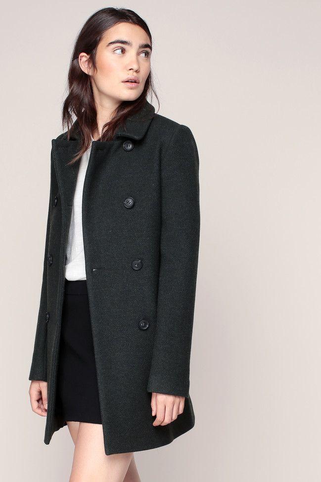 Manteau double boutonnage kaki Velasquez Clo&Se prix promo Manteau Femme Monshowroom 179.00 €