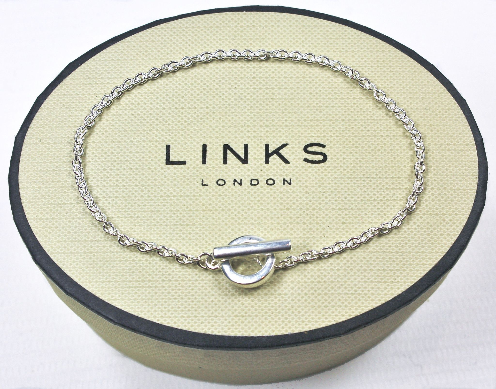 Links Of London Sterling Silver Basic T Bar Hoop Chain Bracelet Lush Labels