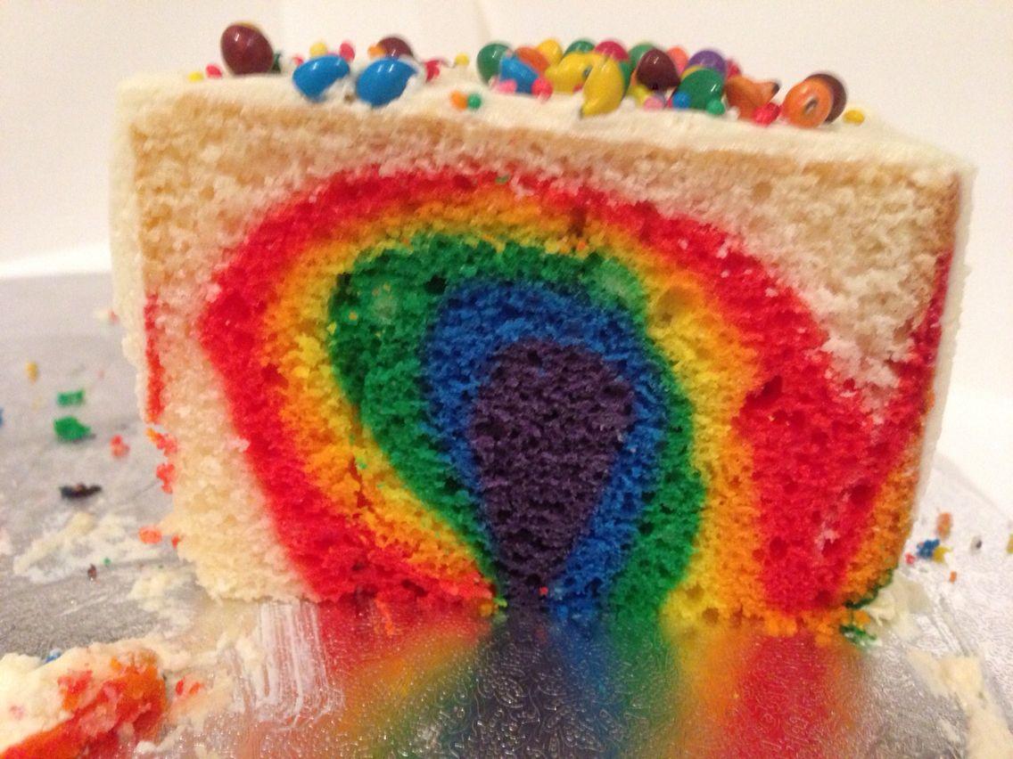 A rainbow inside the cake!