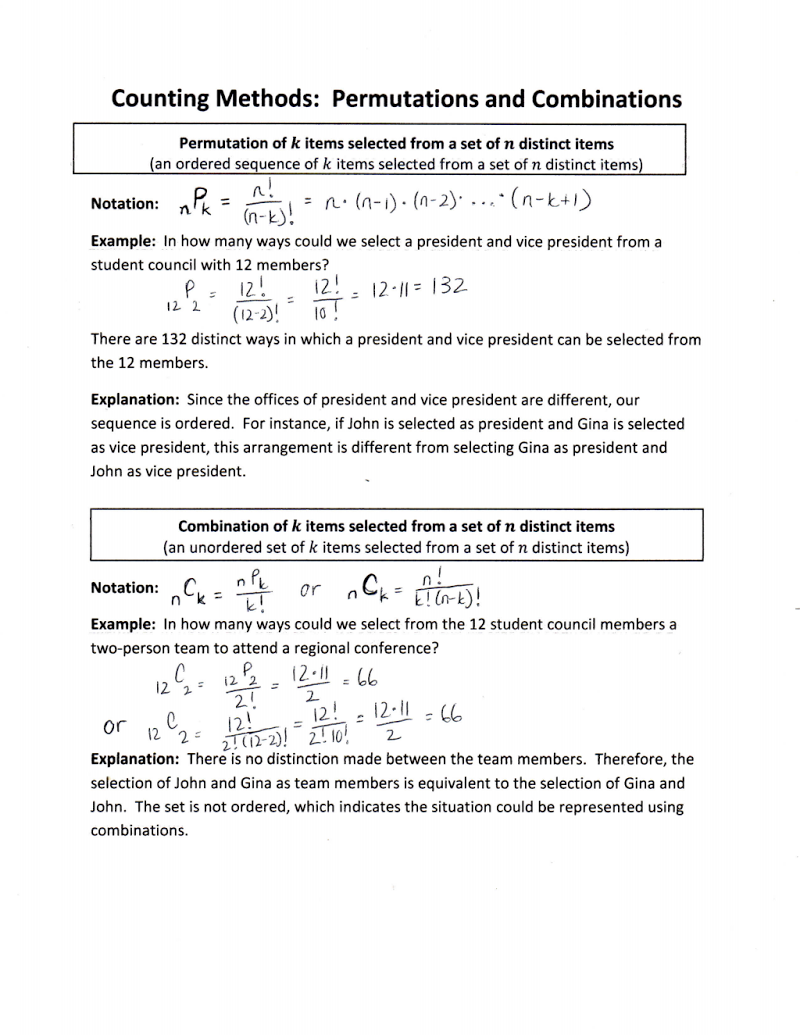 Worksheets Permutations And Combinations Worksheet With