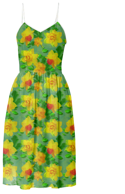 #Daffodil #Floral Print Summer #Dress from #Gingezel at #PAOM #floralpattern #fashion #fashioninspiration #yellowandgreen