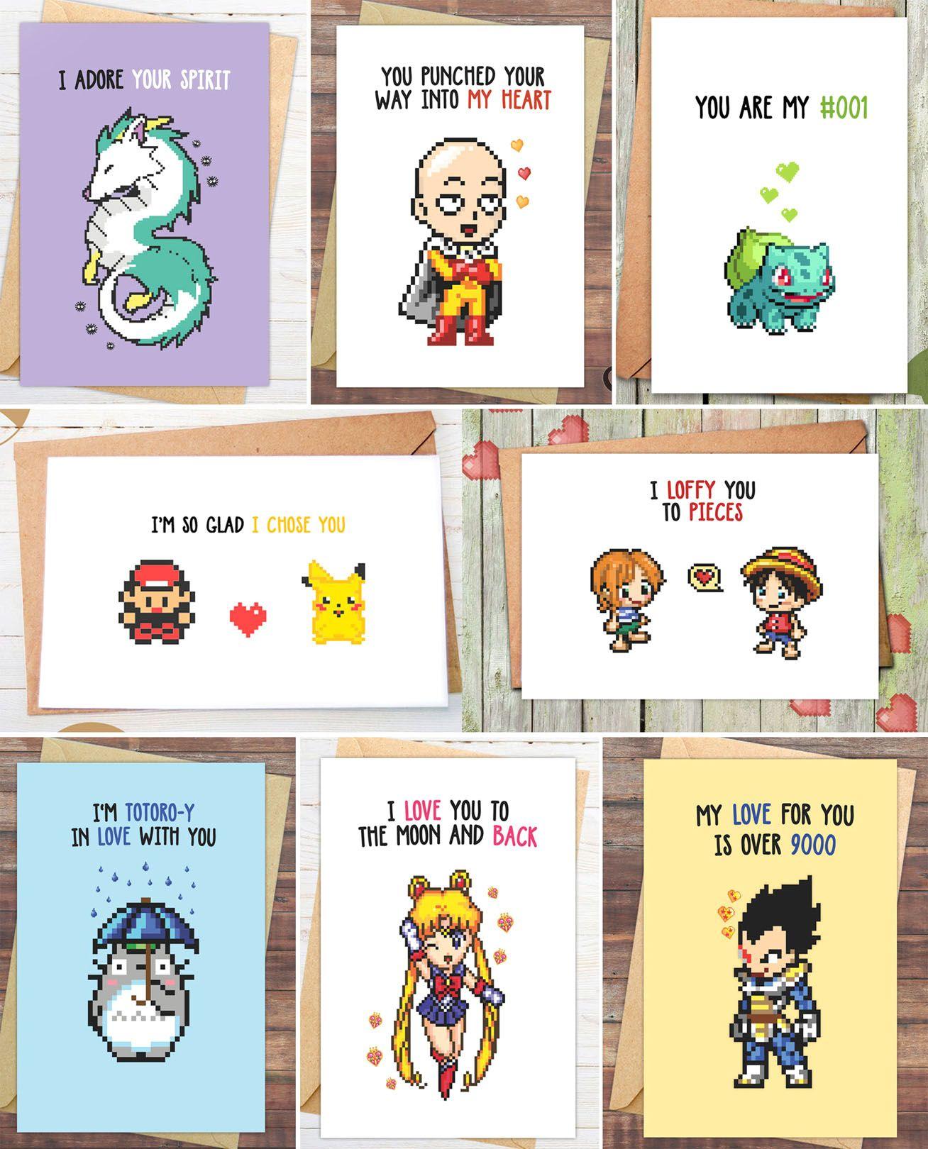 Anime valentines day cards nerdy valentines valentine