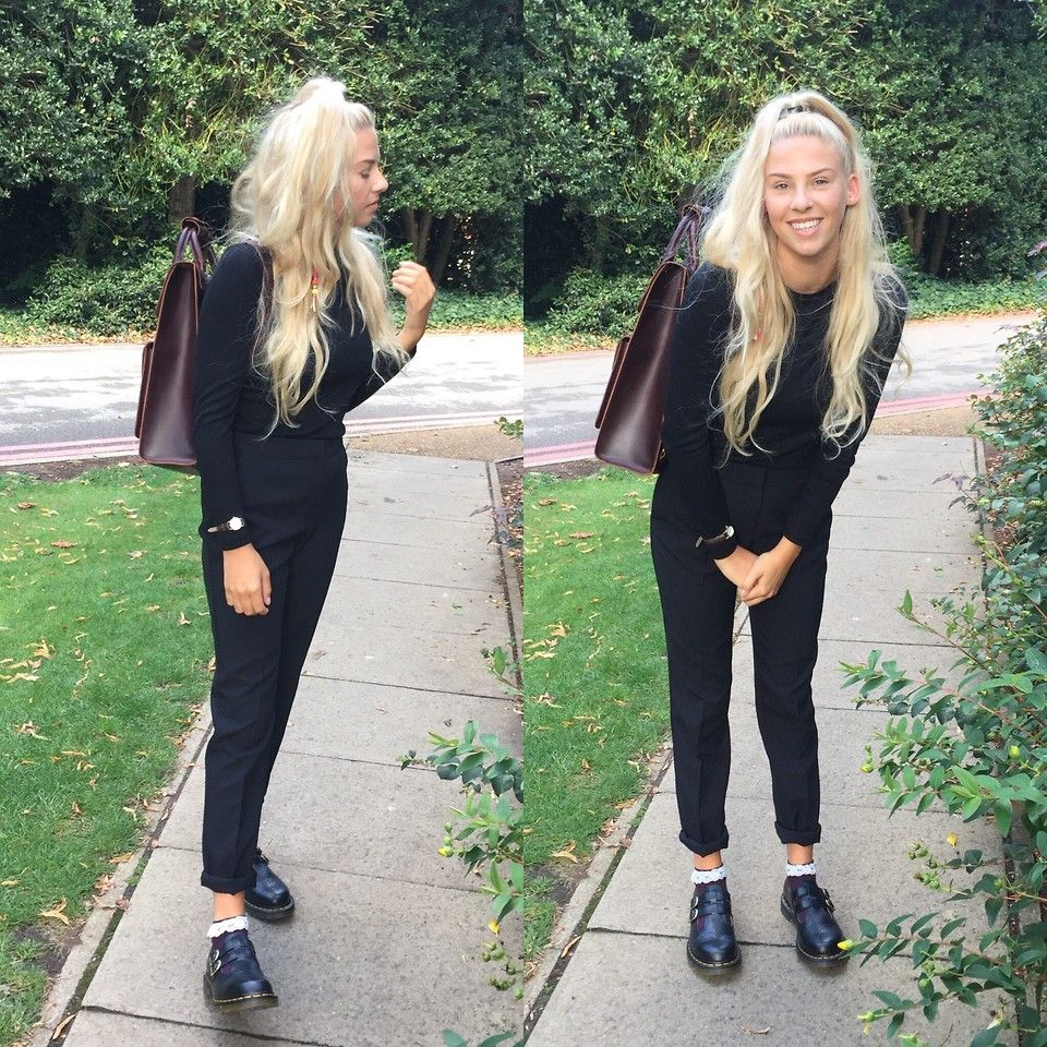 68d9c076a I wore this for my first ever official job interview (I GOT THE JOB!!!)  Simple and classic black top and trousers styled with Dr Marten Leather  Backpack, ...