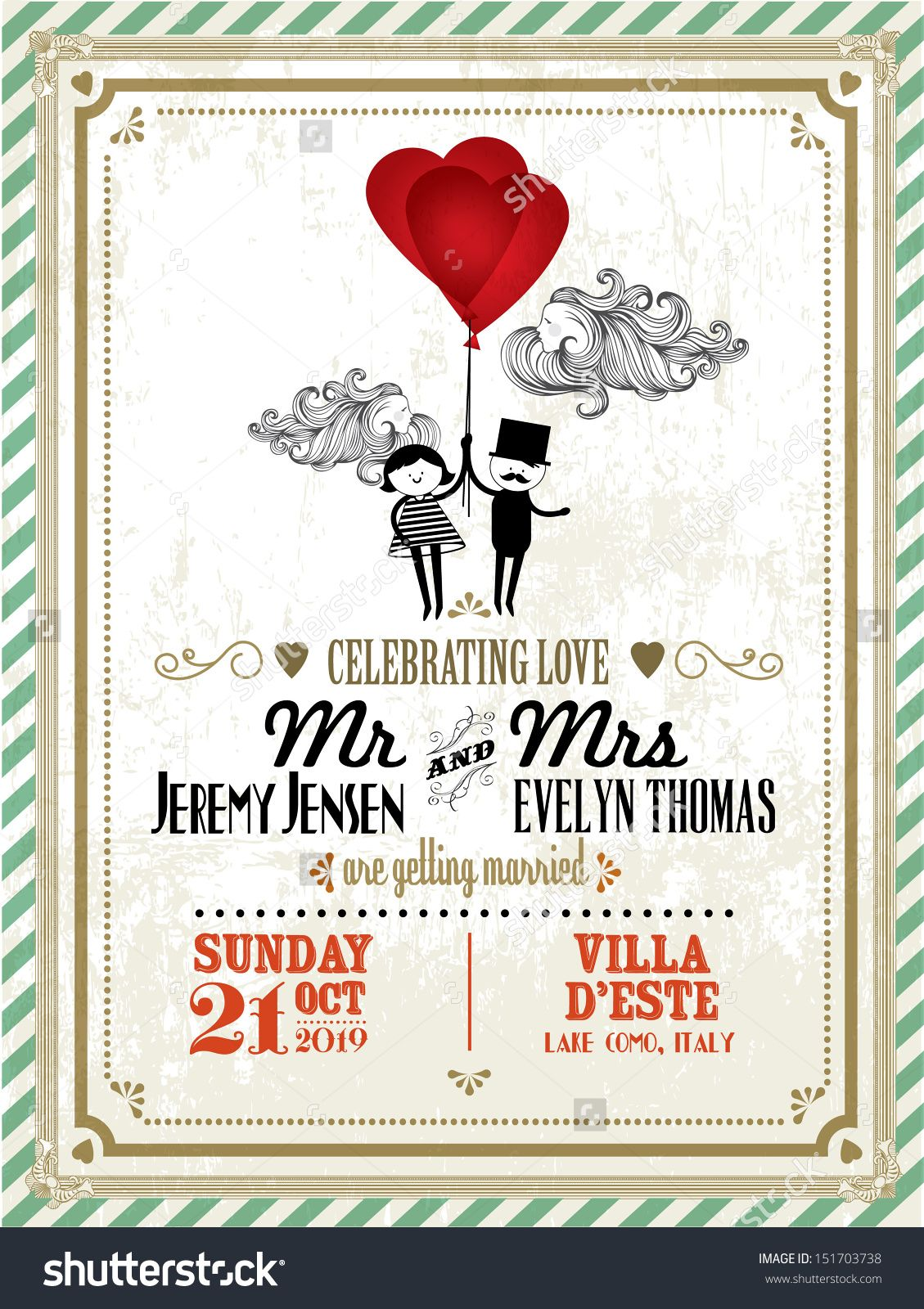 Vintage wedding invitation card template with boy and girl holding vintage wedding invitation card template with boy and girl holding balloons vectorillustration junglespirit Image collections