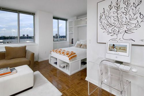 White Studio Ideas : White Studio Apartment With Modern Workplace ...