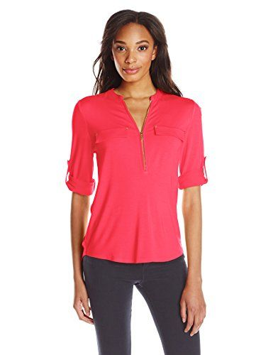 a25420b8 Calvin Klein Women's Modern Essential Zip Front Roll Sleeve Blouse at  Amazon Women's Clothing store: