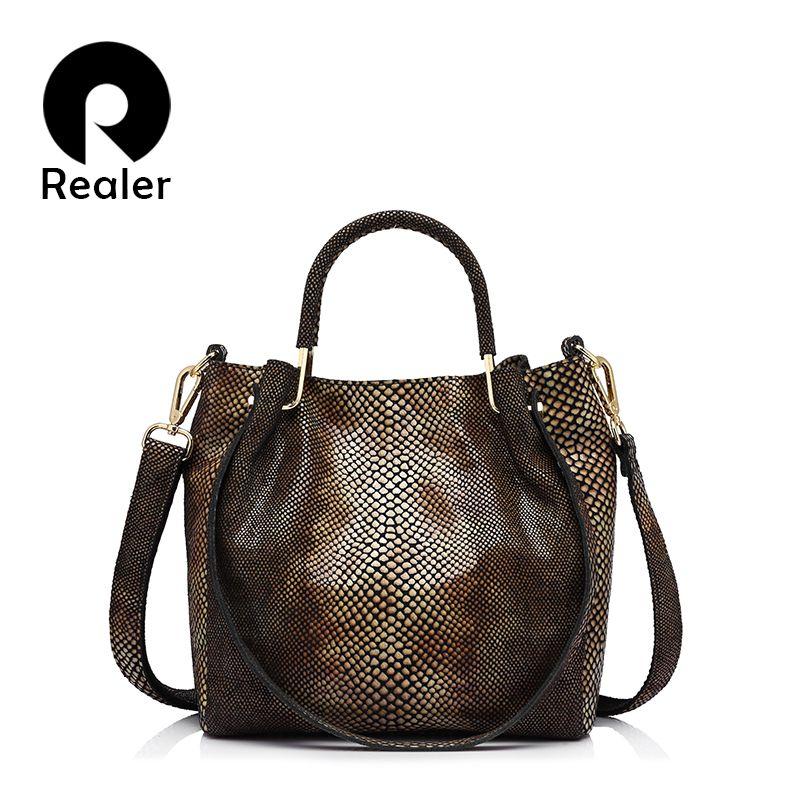 5e8e44cf960 REALER marque véritable cuir femmes épaule sac femelle or python motif  fourre tout sac femmes sac de messager avec le gland dans Sacs à  bandoulière de ...