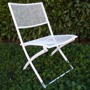 Chaise de jardin pliante en métal perforé blanc ou noir | [MON ...