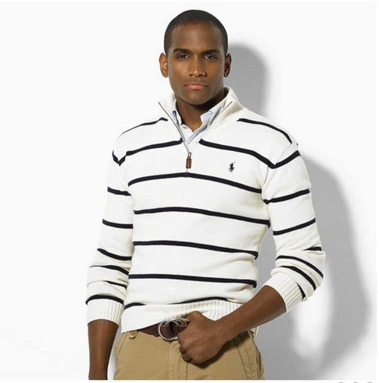 White sweater with seven navy blue stripes and zipper v-neck by RALPH LAUREN