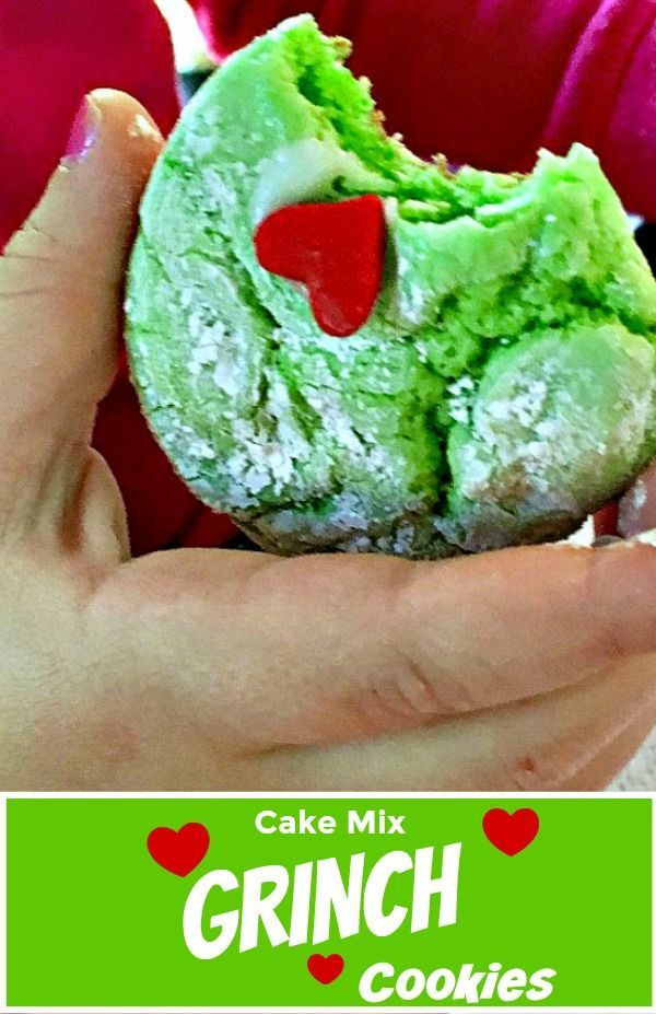 Cake mix GRINCH Cookies recipe ~ easy enough for kids to make - watch the VIDEO! Fun Christmas recipe while you're watching How the Grinch Stole Christmas! #grinchcookies #grinch #christmascookies #holidaybaking #kidrecipes #cakemixcookies #easycookierecipes #grinchcookies