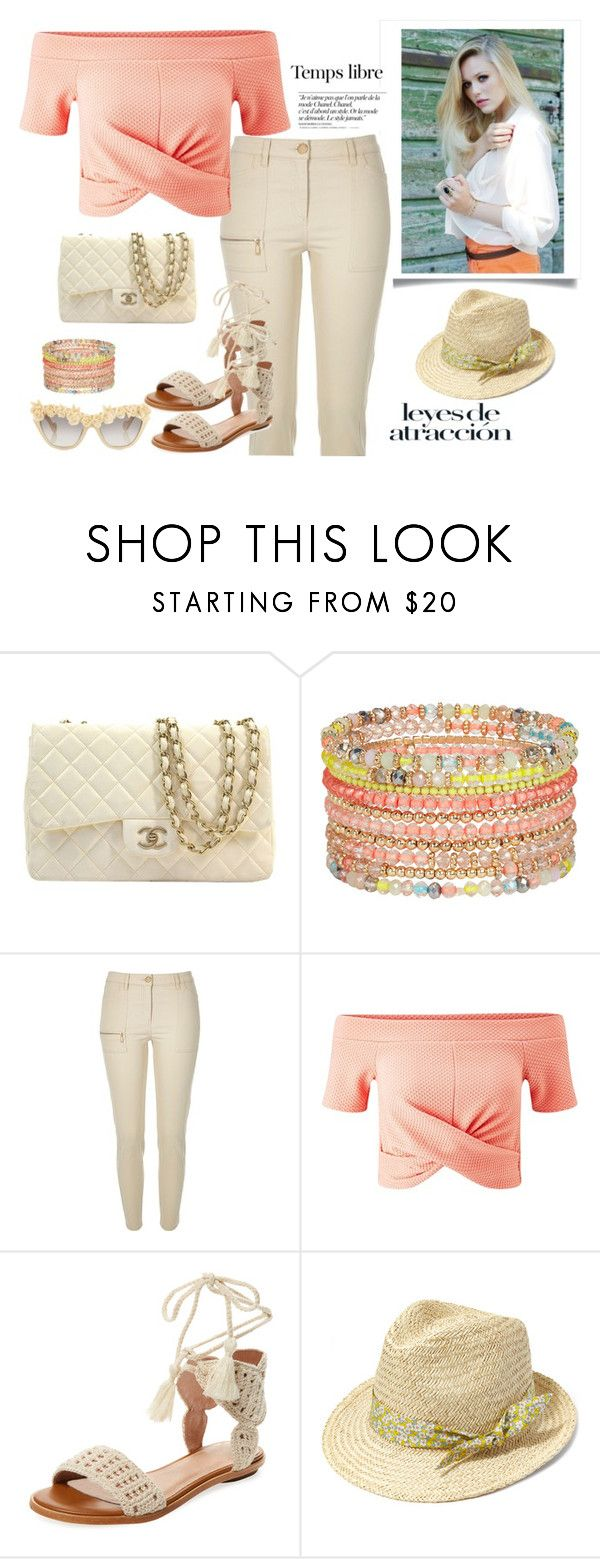 """Summer Peaches & Cream"" by ljbminime ❤ liked on Polyvore featuring Chanel, ALDO, River Island, Miss Selfridge, Joie, Hat Attack, Hedi Slimane and Anna-Karin Karlsson"