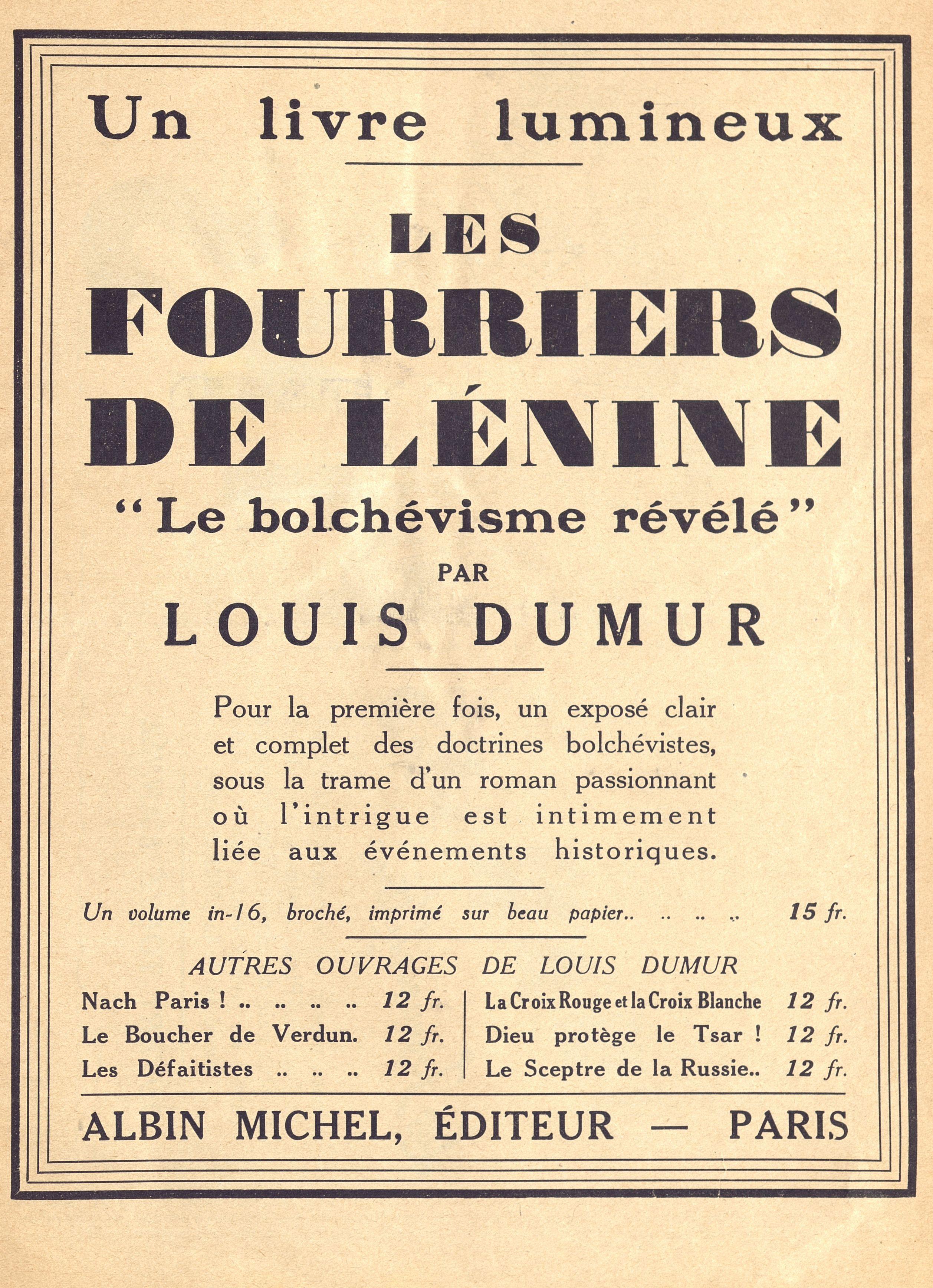 """Les fourberires de Lenine, livre lumineux,  extrait de la revue satirique """"Le Rire"""", 1932 - Bfm Limoges."""
