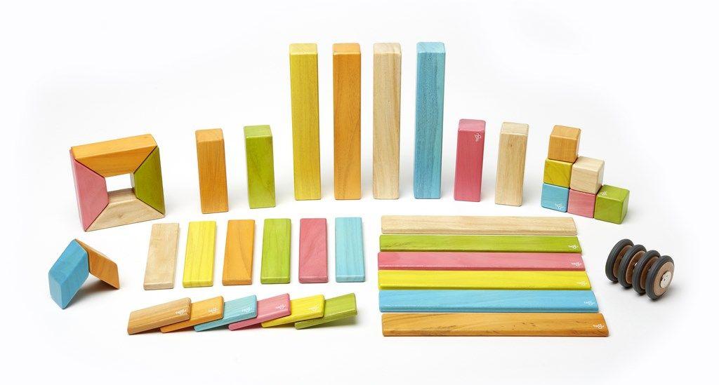 Magnetische Holzbauklötze 42-teiliges Classic Set von Tegu in Farbe, 9…