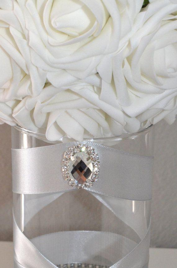 Rhinestone Candle Holder Or Vase with large brooch gem Silver