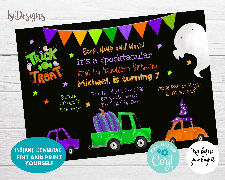 Editable Drive by Halloween Birthday Invitation Instant