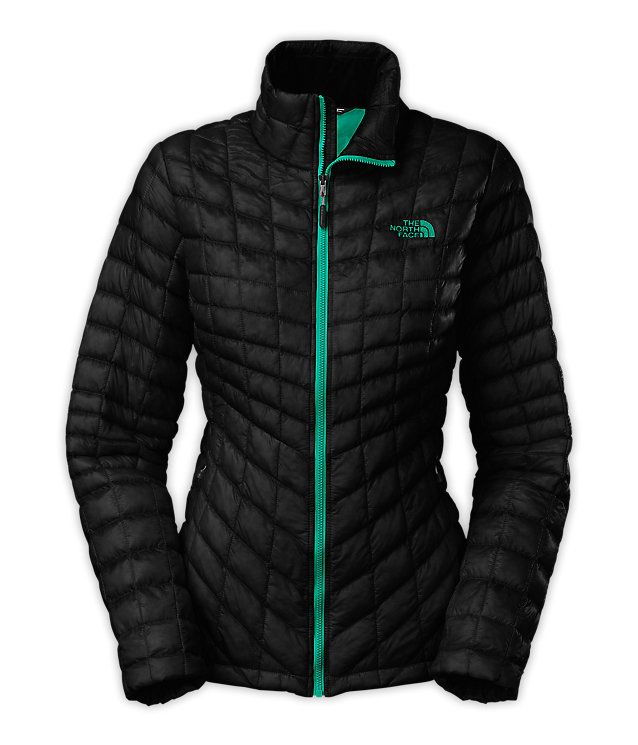 ffd784e5ccdb The North Face WOMEN S THERMOBALL™ FULL ZIP JACKET Color  TNF BLACK    KOKOMO GREEN