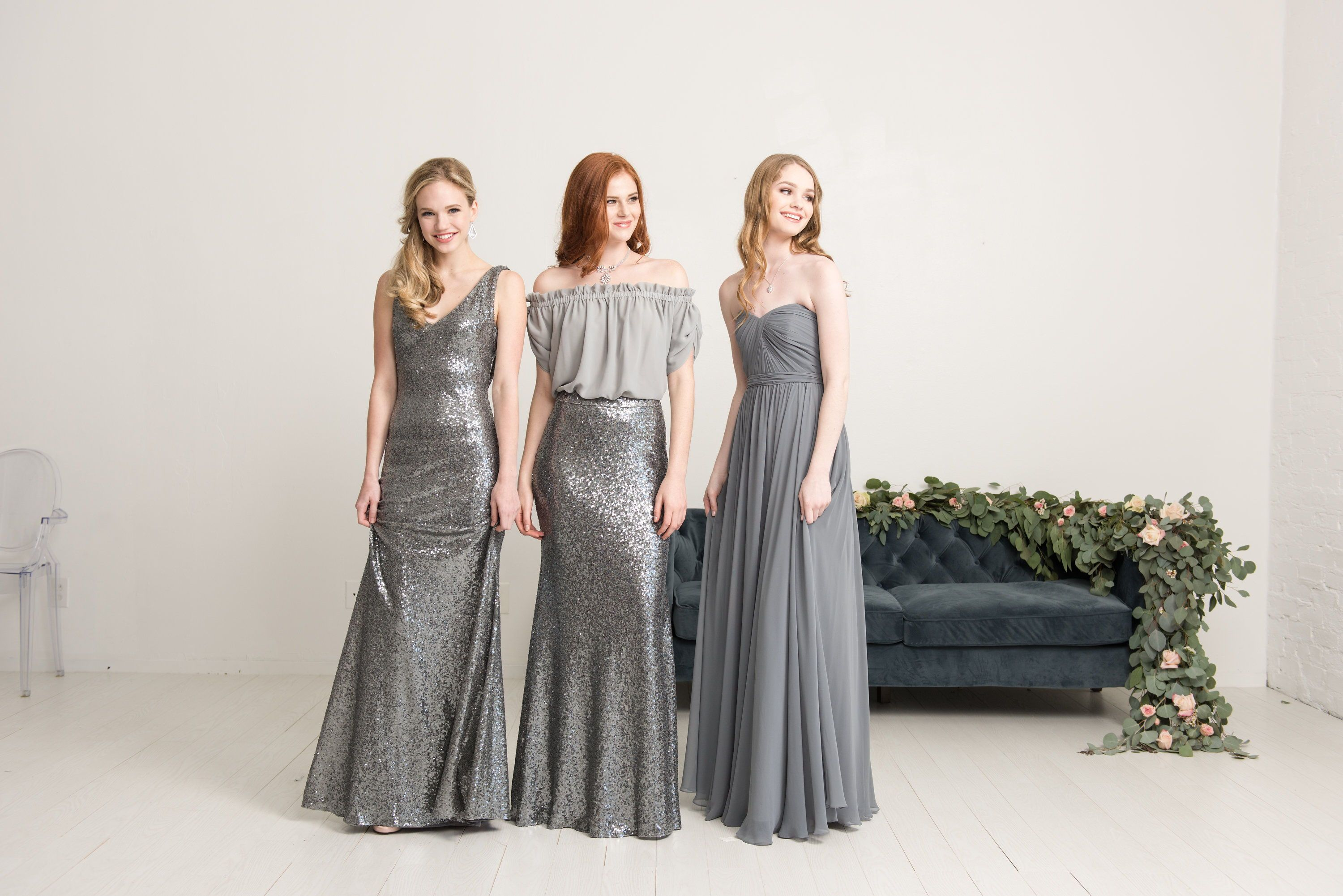 Looking for grey bridesmaids dreses? or sparkly bridesmaids