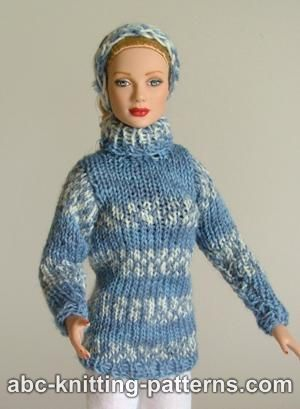 Fair Isle Sweater And Headband For Fashion 16 Inch Dolls By Robert