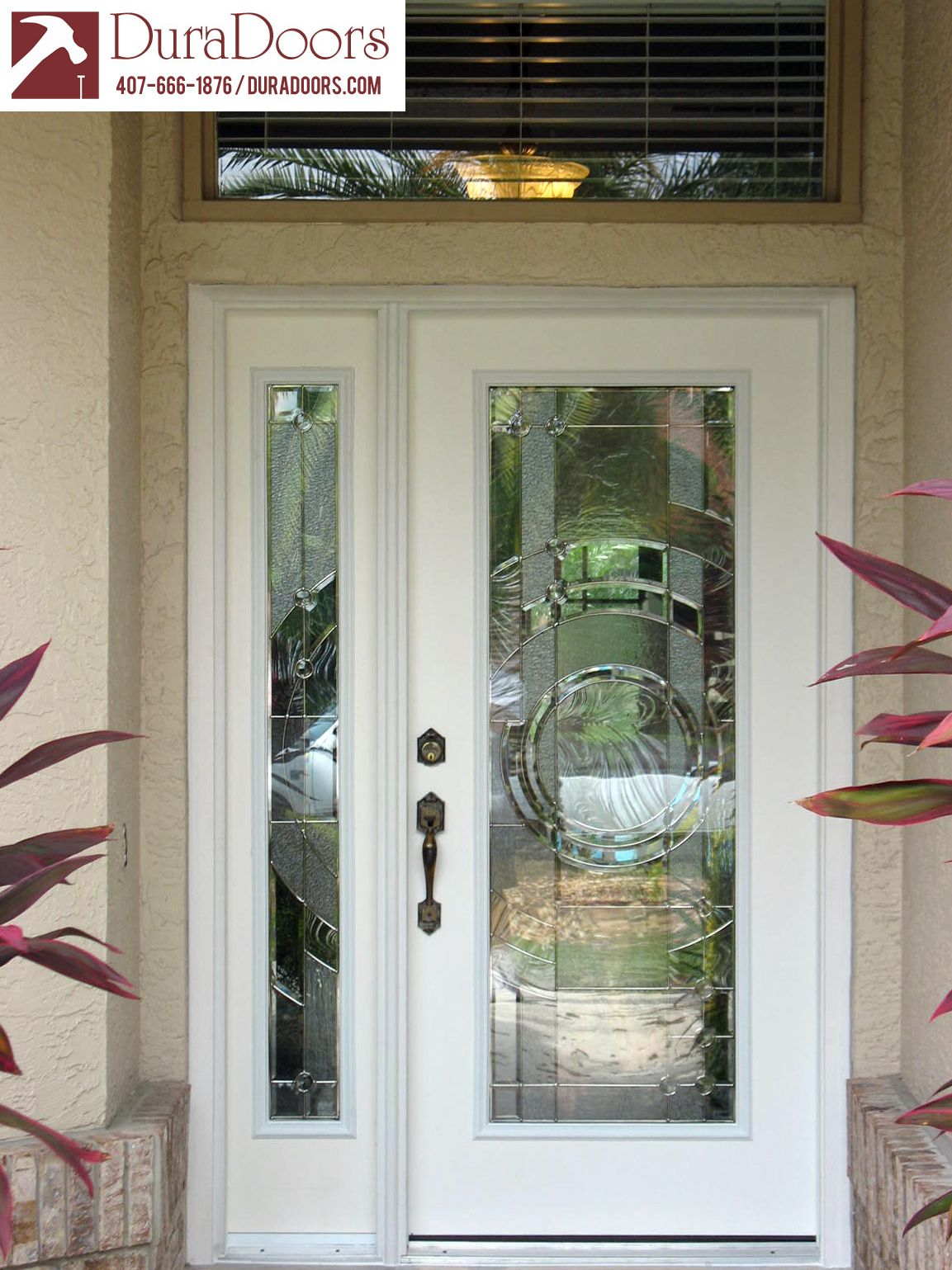 Plastpro Entry Door And Sidelight With Entropy Glass By Odl Entry Doors With Glass Entry Doors Wood Exterior Door