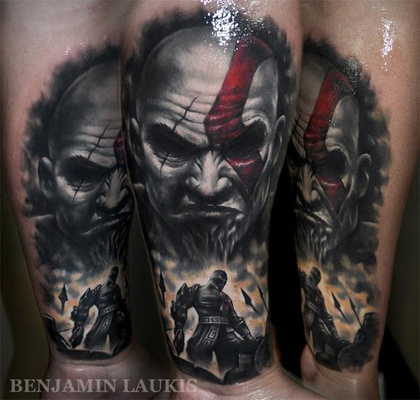 Amazingly Realistic God Of War Kratos Tattoo Pic Scary