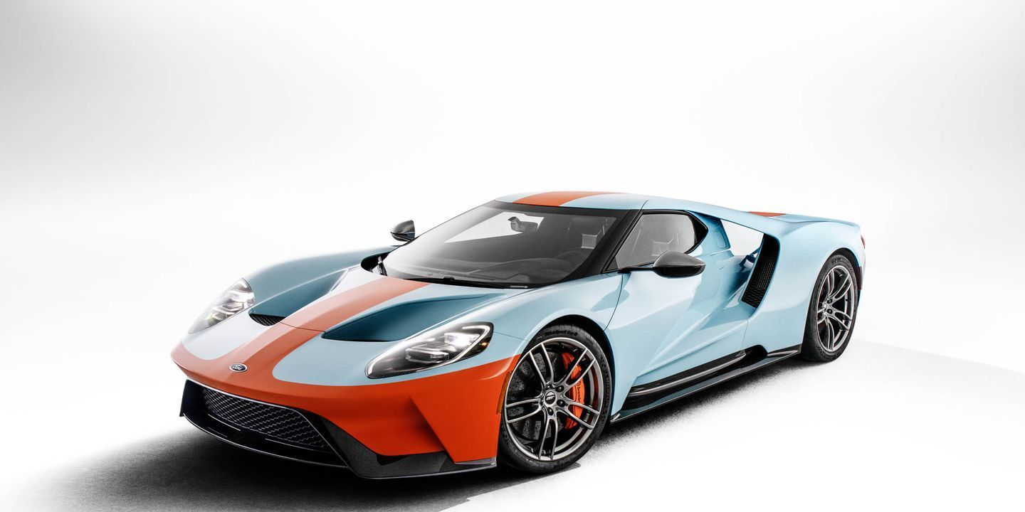 2019 Ford Gt Heritage Edition Wears Gulf Livery Of Le Mans Winning Gt40 Ford Gt40 Ford Gt Ford