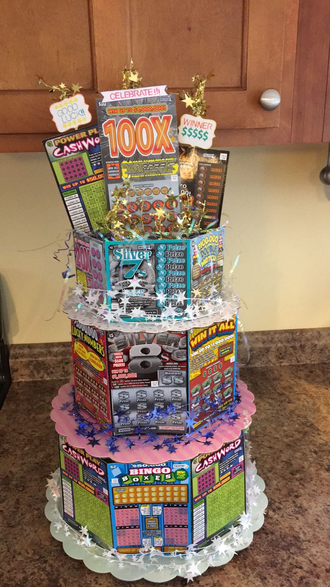 Lottery Ticket Cake For A Jack And Jill Raffle Creative Money Gifts Lottery Ticket Gift Birthday Gifts