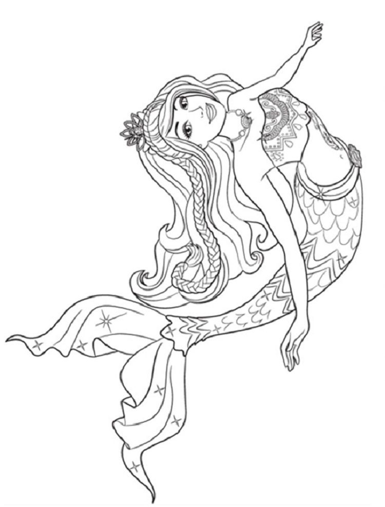 barbie princess mermaid coloring