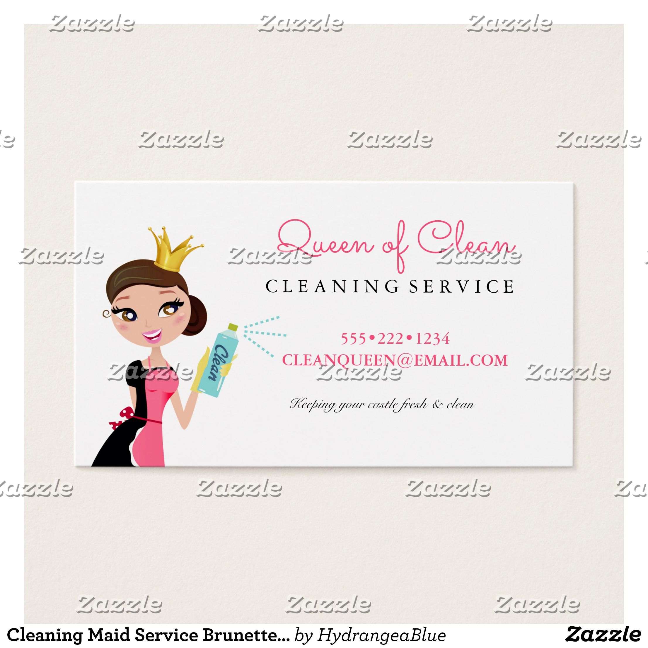 Cleaning Maid Service Brunette Character Crown Business Card ...