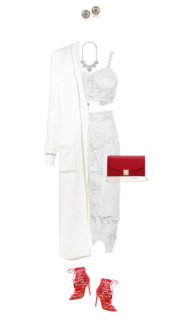 """""""White on white with pop of red !"""" by azzra ❤ liked on Polyvore featuring River Island, M&Co, Forever 21, Sabine Luise, Carolee, red, WhiteOnWhite and whitedress"""