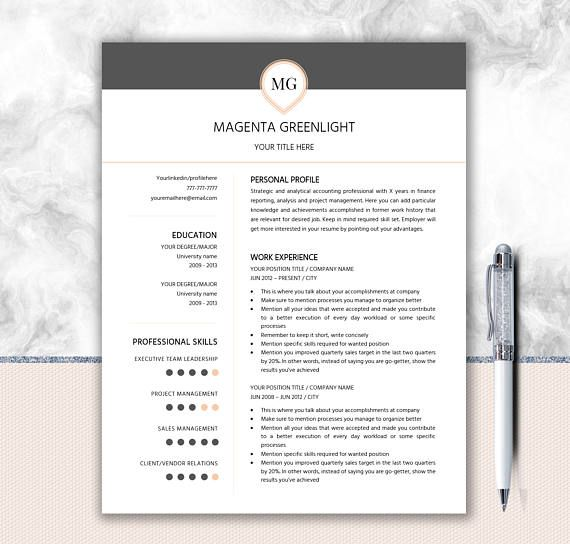One Page Resume + Two Page Resume + Cover Letter Design + Monogram - single page resume template