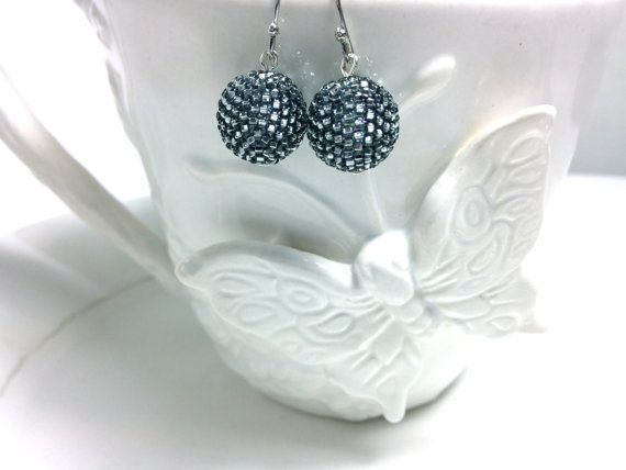 Sparkling Silvery Gray Beaded Bead Earring by frompgwithlove, $18.00