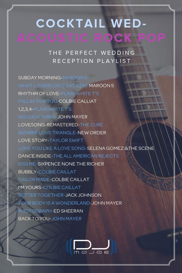 This acoustic rock pop wedding playlist is just perfect
