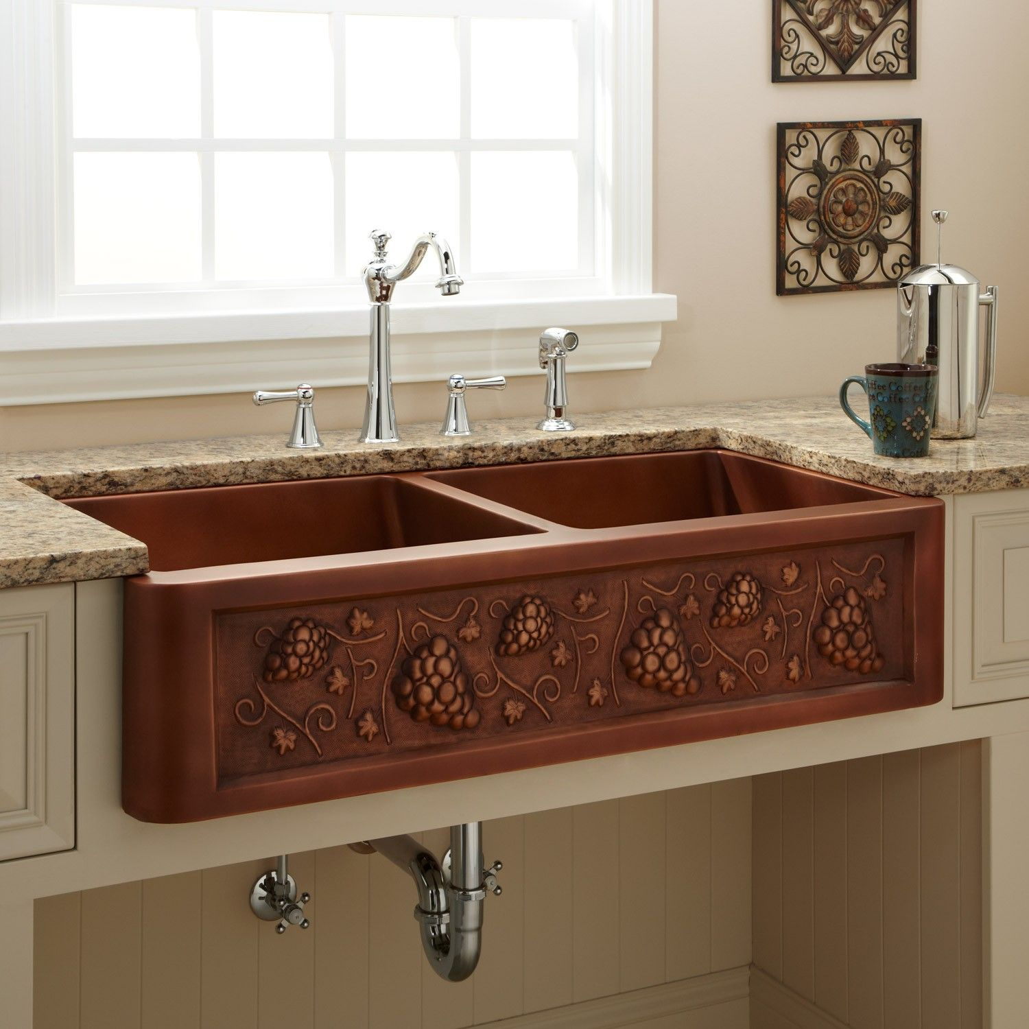 Medium image of 39   tuscan double bowl copper farmhouse sink