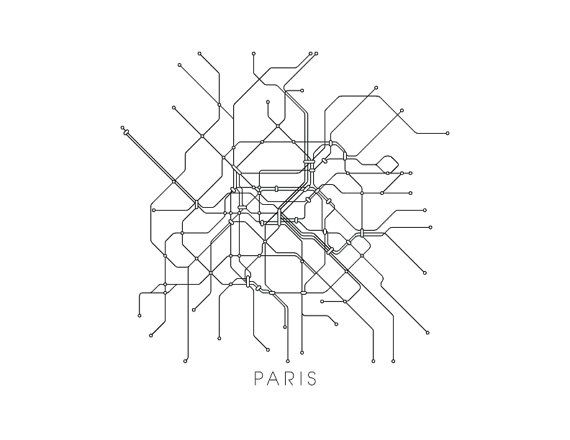 Paris Subway Map Print Paris Metro Map Poster Subway Map